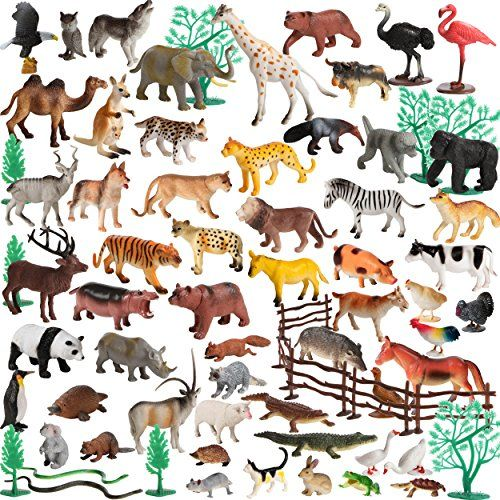 100 Piece Set Of Animals Figures And Accessories In Storage Container This Is An Amazon Affiliate Link Want To Know Animal Figures Animals Ocean Animals
