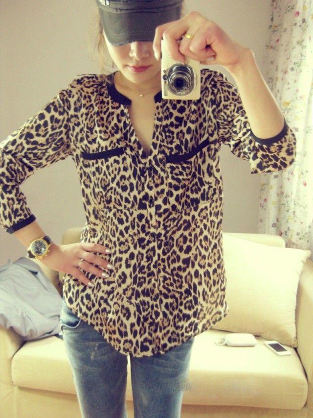 bd0fba33cfea6d 2015 New Fashion Women Wild Leopard Print Chiffon Blouse Lady Sexy Long  Sleeve Top Casual Shirt