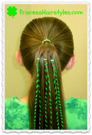 St Patrick S Day Hairstyles Shamrock With Ribbon Hair Styles Crazy Hair Days Ribbon Hairstyle