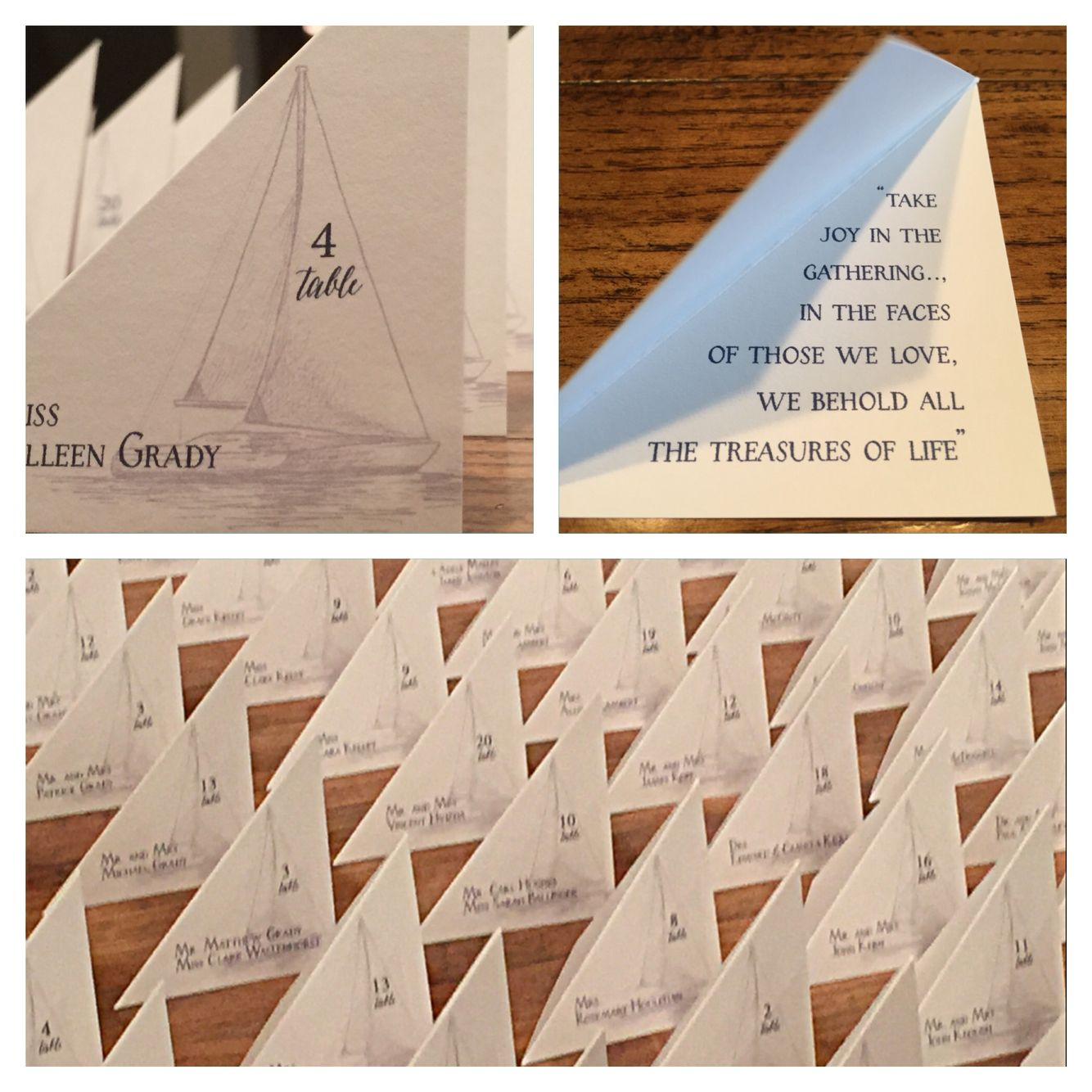 Cotton Ink\'s Triangle shaped place cards for the sail boat wedding ...