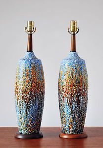 Great Mid Century Modern   Ceramic Table Lamps Vintage