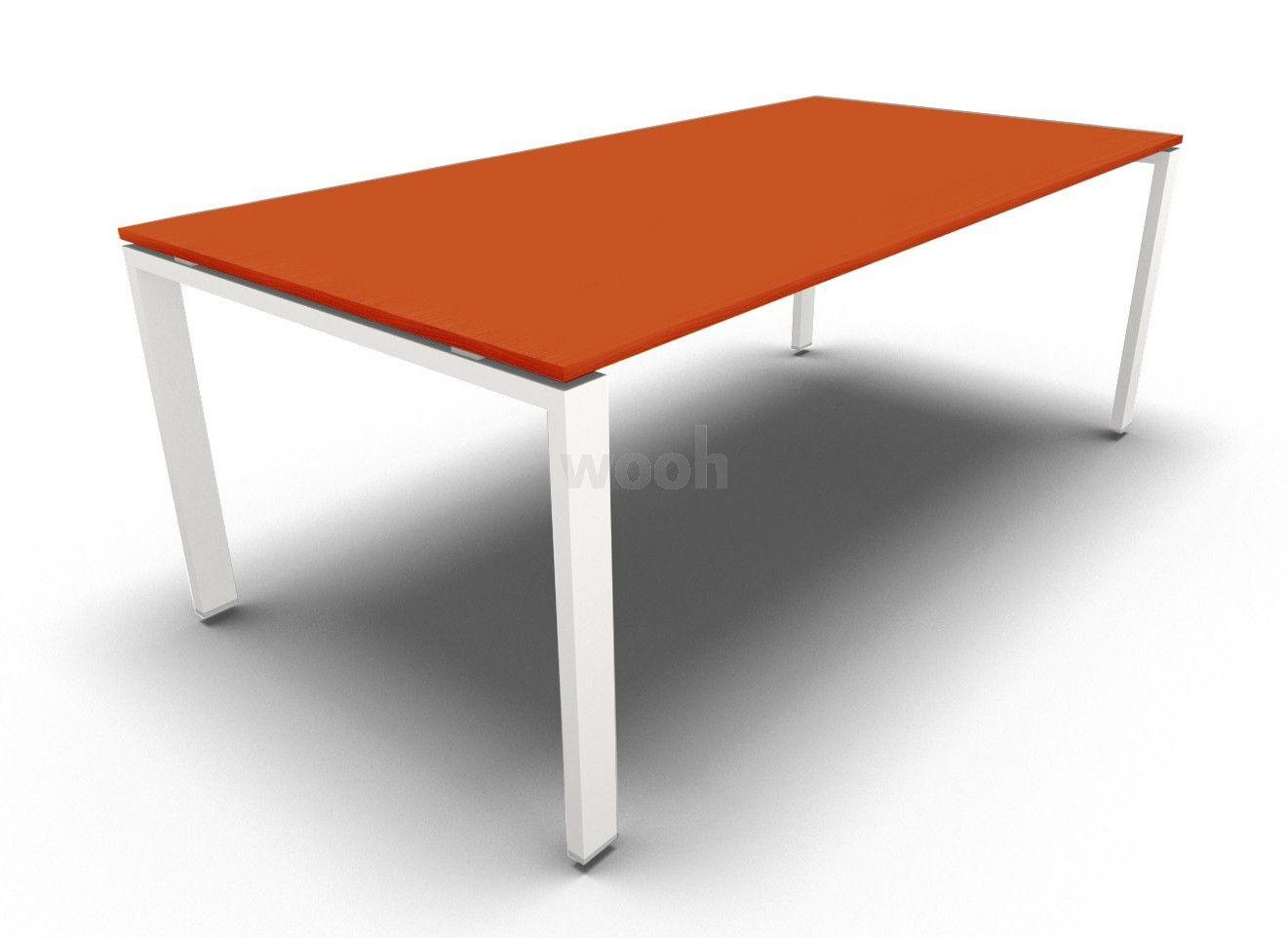 Bureau glider droit verre orange piètement blanc prof wooh