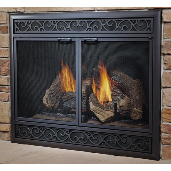 Aluminum Deluxe Direct Vent Refacing With Mesh Doors And Louvers Custom Sizes At Fireplacedoorsonline Com Fireplace Doors Fireplace Glass Doors Fireplace