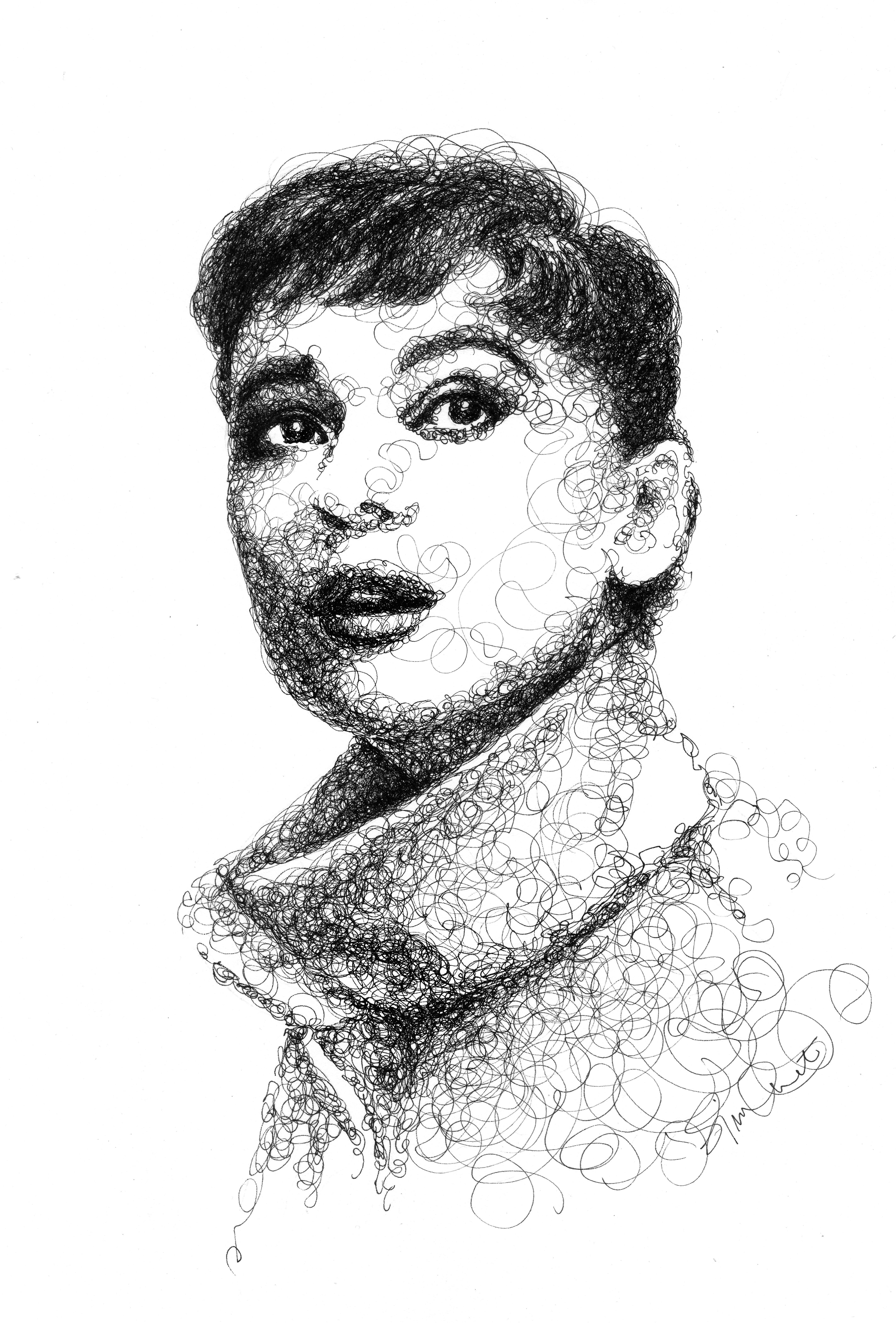 Scribble Pen Drawing : Audrey hepburn pen ink drawing scribble portrait