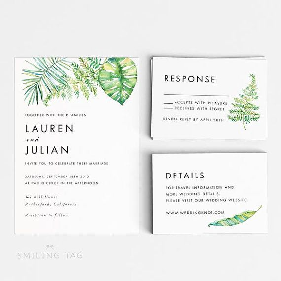 Tropical Printable Wedding Invitation Set - Hawaii Wedding