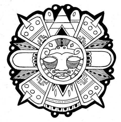 Aztec Sun Zentangle Art Patterns Tatouage Mexicain Dessin