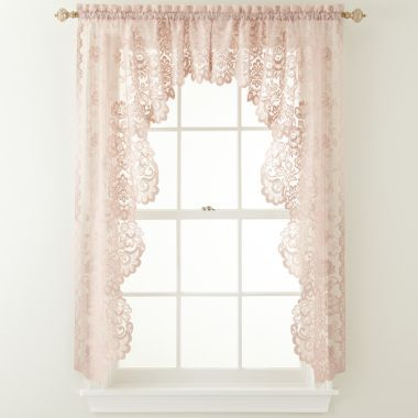 jcp home shari lace rodpocket cascade valance found at jcpenney