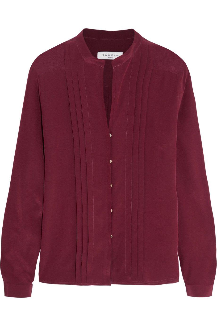 SANDRO Carey pintucked silk blouse. #sandro #cloth #blouse