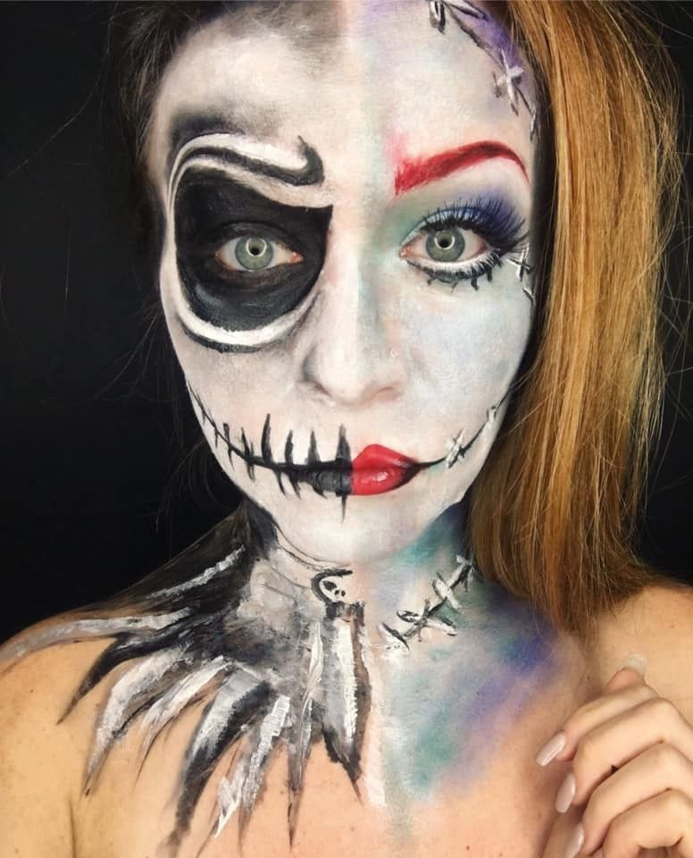 Christmas Halloween Makeup.Sally Vs Jack Nightmare Before Christmas Halloween Makeup