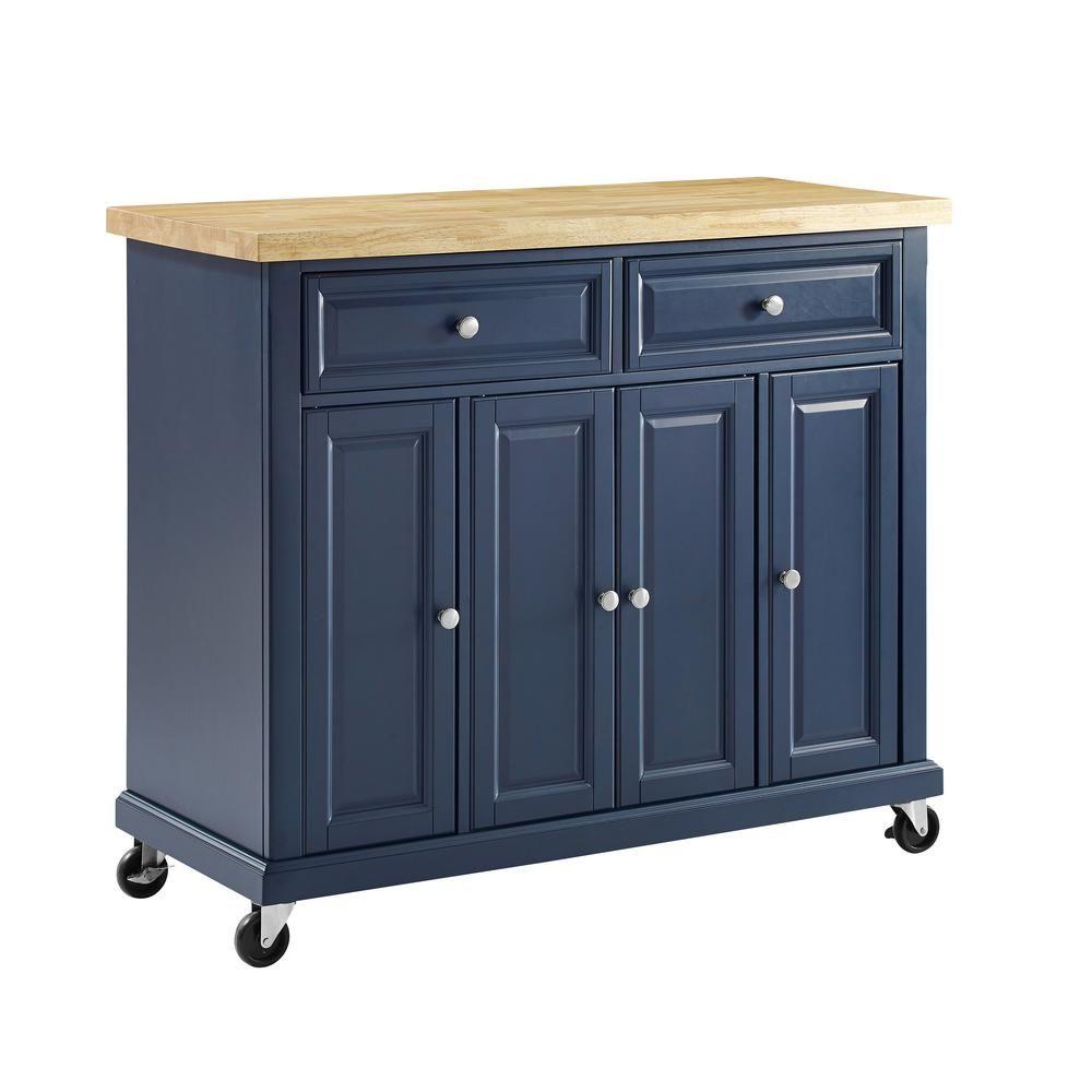 Crosley Madison Navy Kitchen Cart Kf30031env The Home Depot In 2020 White Kitchen Cart Navy Kitchen Rolling Kitchen Island