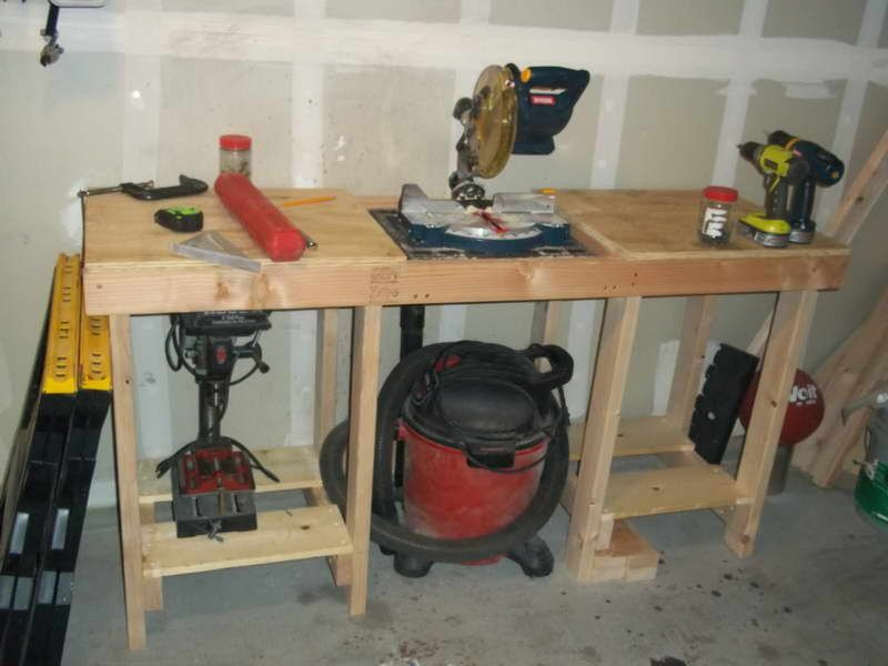 bo garage need a space for tools ideas - Workbench with space under saw to connect shop vac