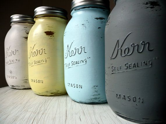 Hand Painted Shabby Chic Mason Jars Quart Size by BeachBlues on Etsy