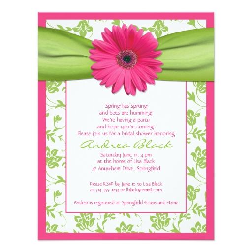 Pink Green Gerbera Daisy Bridal Shower Invitation Zazzle Com Daisy Wedding Invitations Damask Wedding Invitation Floral Wedding Invitations