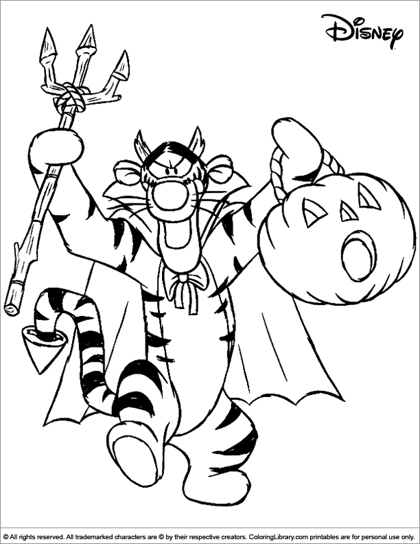 Cute Halloween coloring page for kids. Tigger from Winnie