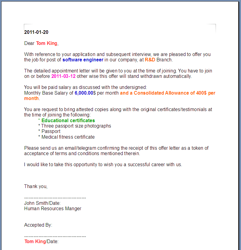 Printable Sample Offer Letter Template Form – Sample Offer Letters