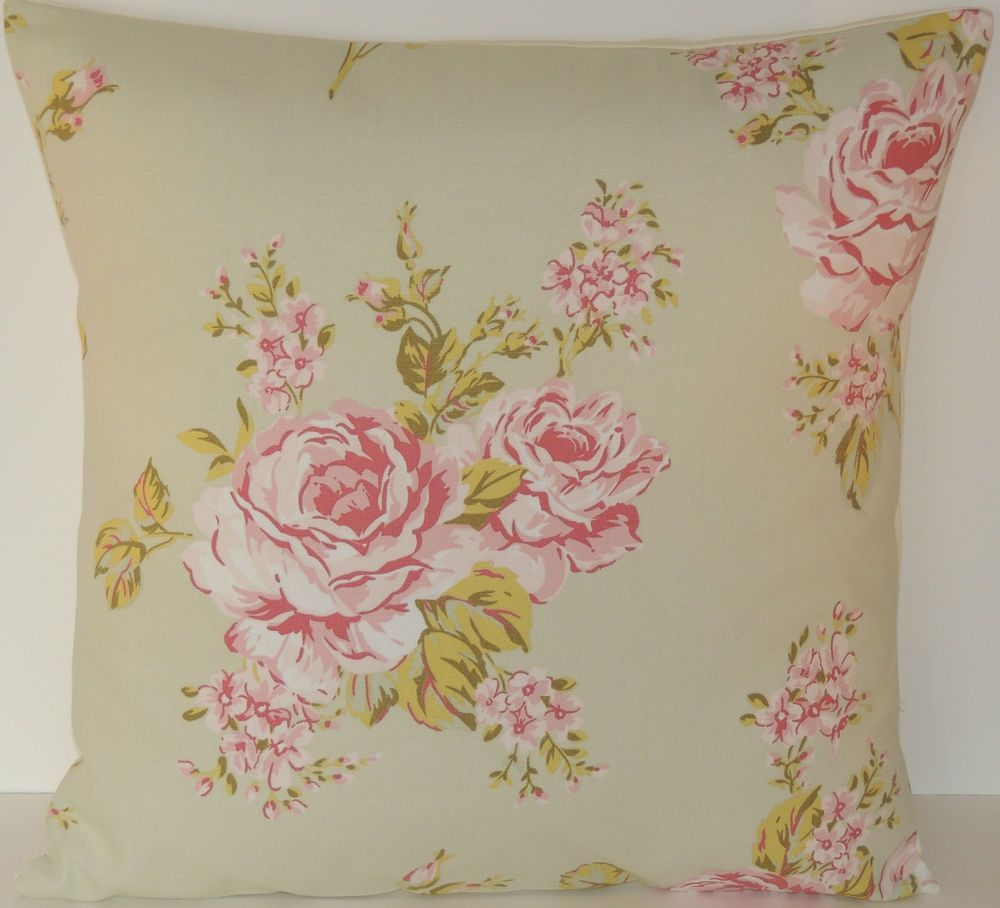 """Clarke and Clarke  Vintage Shabby Chic Sage Green Flora Roses 16""""  Cushion Cover"""