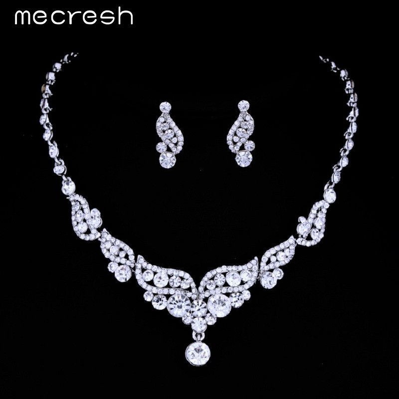 6d478bb3b8b Mecresh Luxurious Angel Wings Crystal Bridal Wedding Jewelry Sets Silver  Color Necklace Earrings for Women TL312-pin