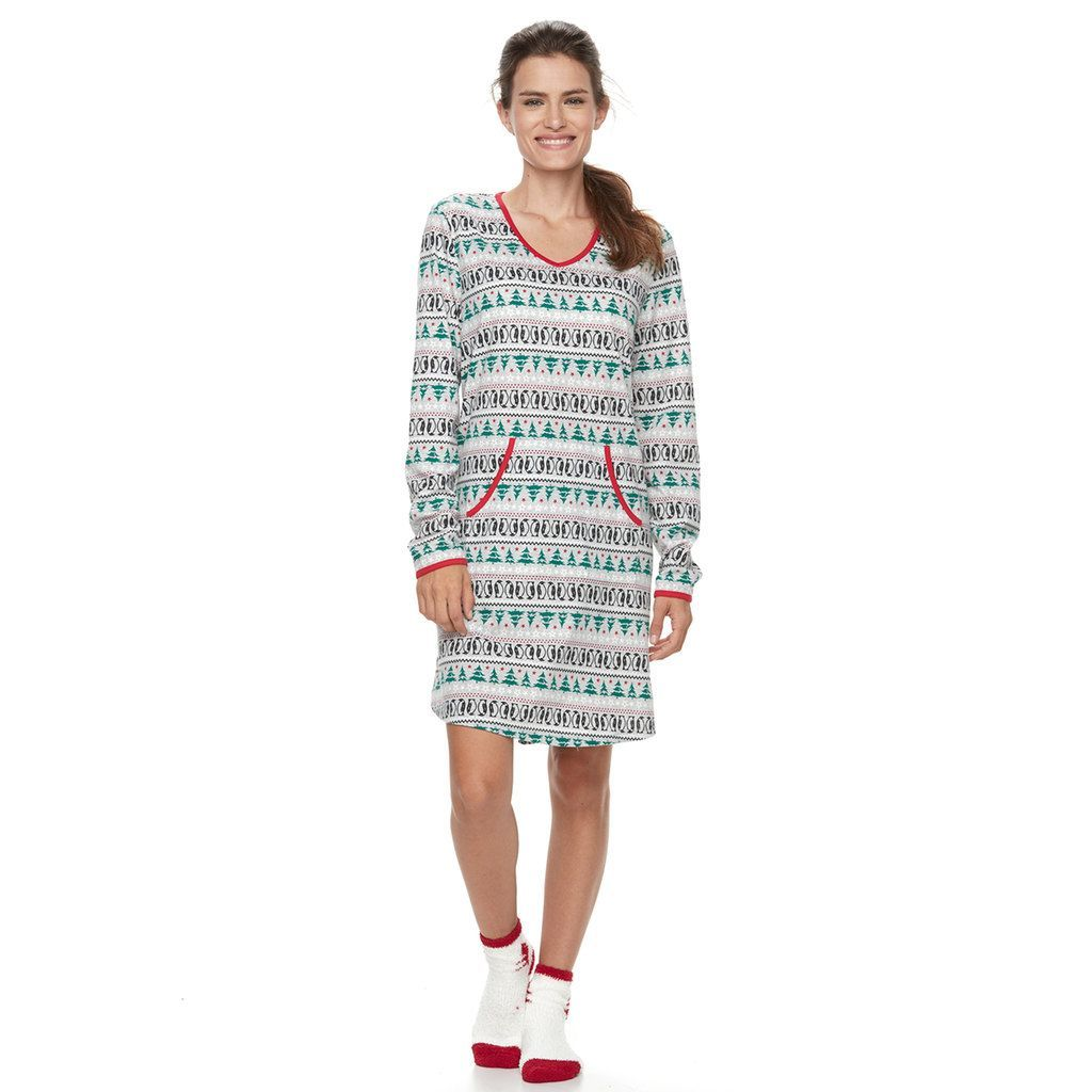 Red flannel nightgown  Womenus Croft u BarrowPajamas Knit Sleep Shirt u Socks PJ Set