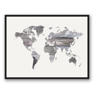 Brayden studio white world map framed watercolor painting print brayden studio white world map framed watercolor painting print on canvas gumiabroncs Choice Image