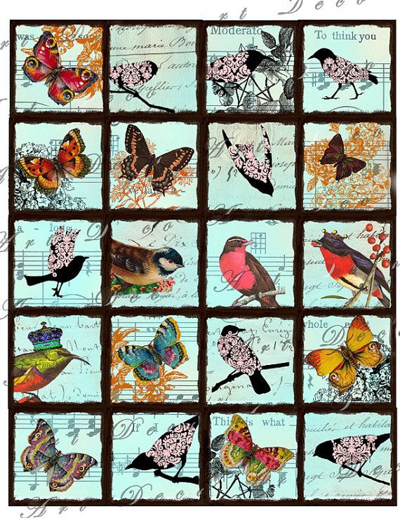 2x2 inch squares vintage birds with damask and crowns and butterflies collage sheet 119. $3.50, via Etsy.