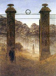 Caspar David Friedrich, Friedhofseingang, 1825. Collectie Galerie Neue Meister, Dresden.