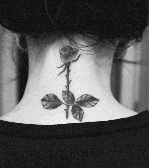 40 Beautiful Back Neck Tattoos For Women: #tattoo - Back Of Neck, Rose, #tattoos For Women