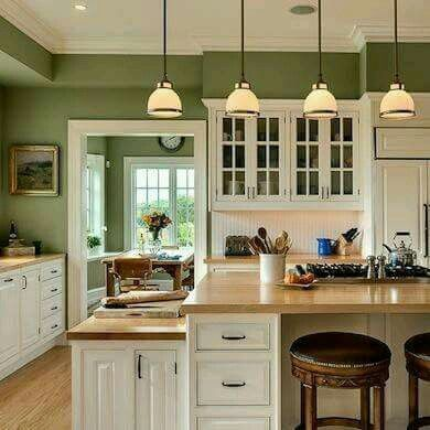 Love The White Cabinets With Green Wall Color Kitchen