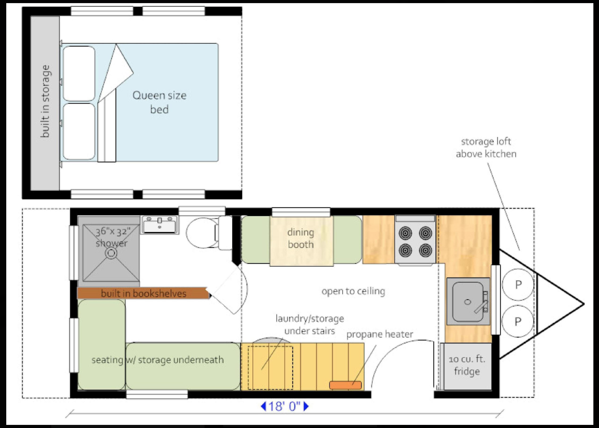 Tiny House Layout For 18foot Trailer Tiny House Layout House Layouts Bookshelves Built In
