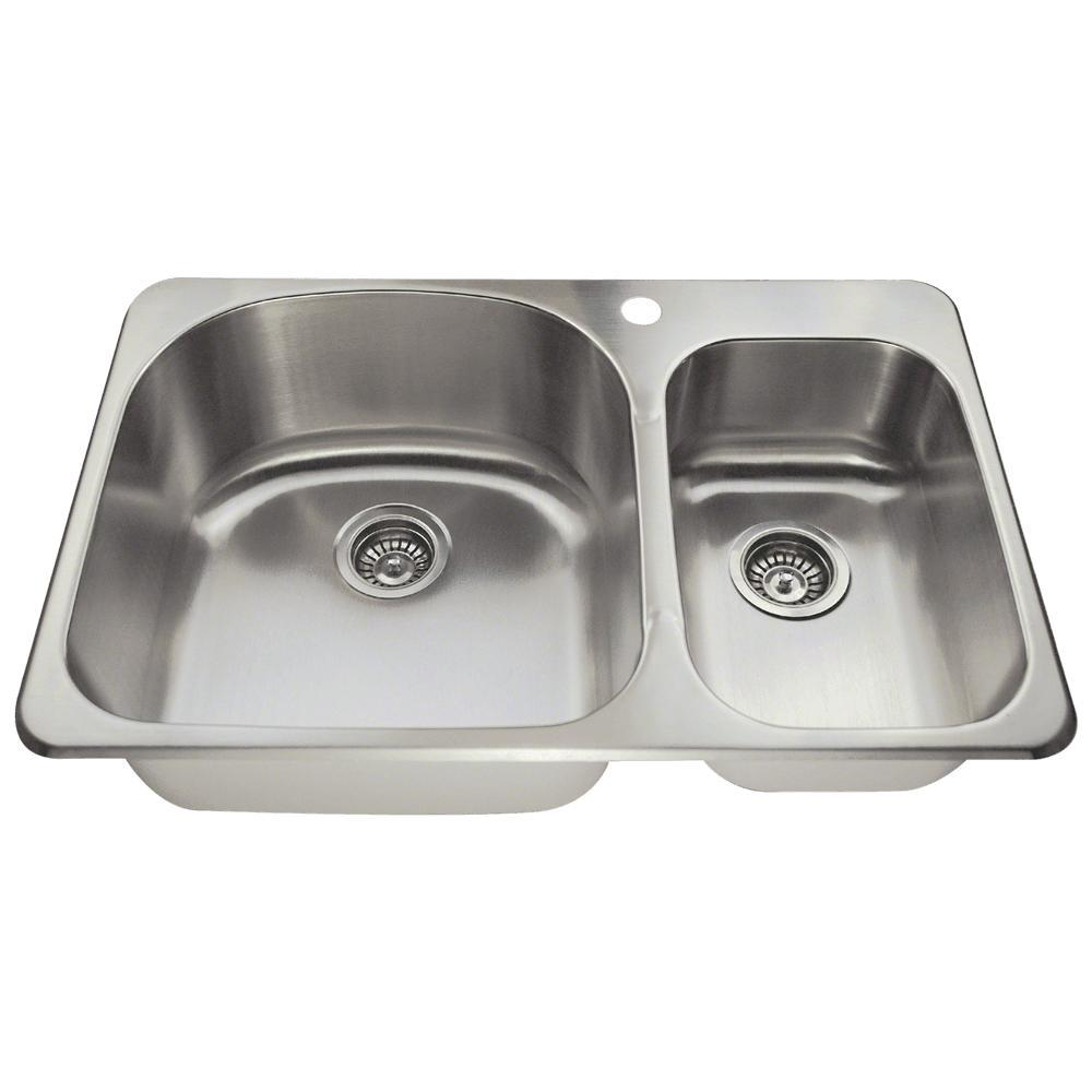 Mr Direct Drop In Stainless Steel 32 In 1 Hole Double Bowl