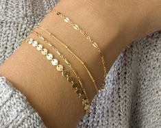 Photo of Dainty Chain Bracelet, Delicate Bracelets for Women, Layering Bracelet, Gold Chain, Coin, Tube, Lace, Satellite Chain, LEILAjewelryshop,B201