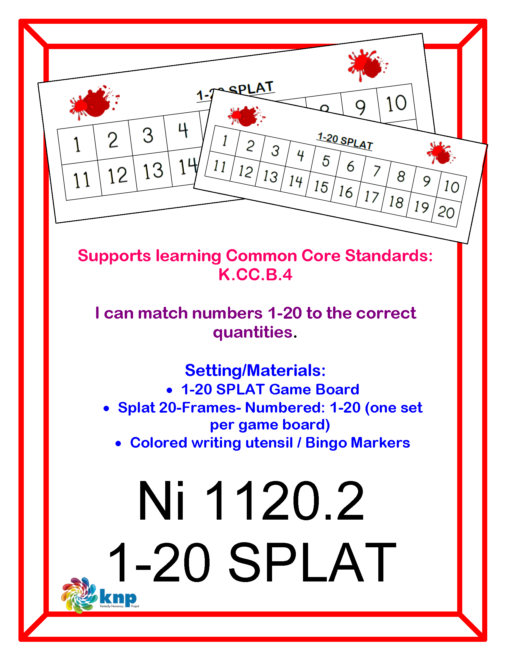 1 20 Splat I Can Match Numbers 1 20 To The Correct