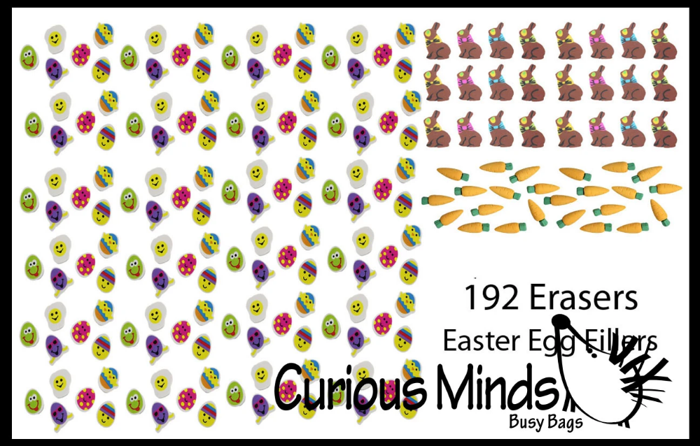 Curious Minds Busy Bags 24 Cute Chick and Bunny Erasers Gift Easter Bulk 2 Dozen Small Novelty Prize Toy Party Favors