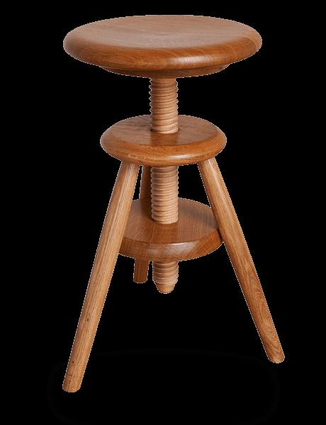 tabouret vis d 39 horloger en bois r glable en hauteur vernis naturel tabourets. Black Bedroom Furniture Sets. Home Design Ideas