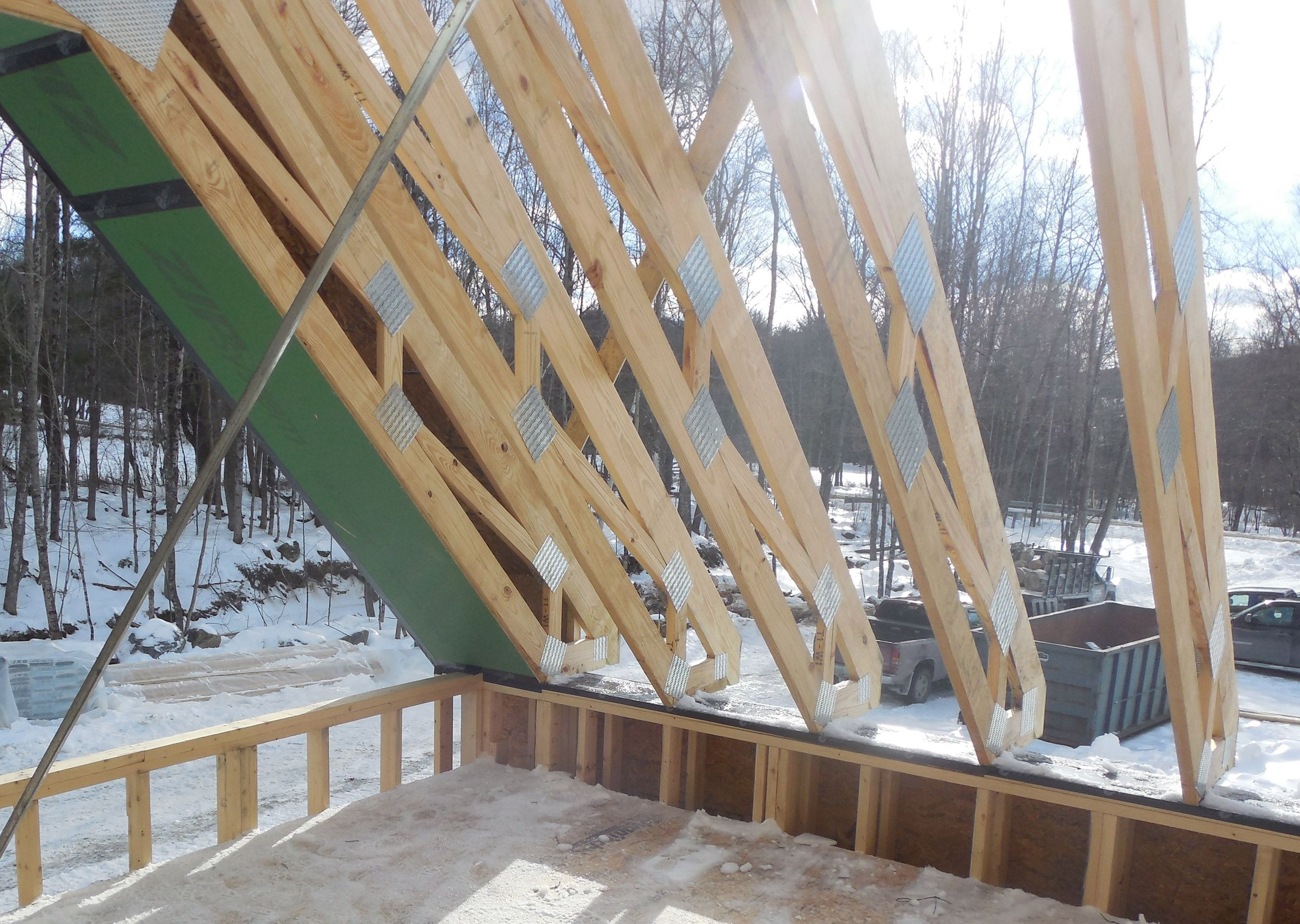 Net Zero Homes Show Signs Of Convergent Evolution Roof Sheathing House Exterior Roof Trusses