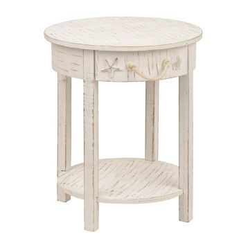 The Key To Coastal Living Is Keeping Your Home Clutter Free! Our Whitewash  Round Coastal Side Table Has A Seaside Design And Storage Space To Spare.