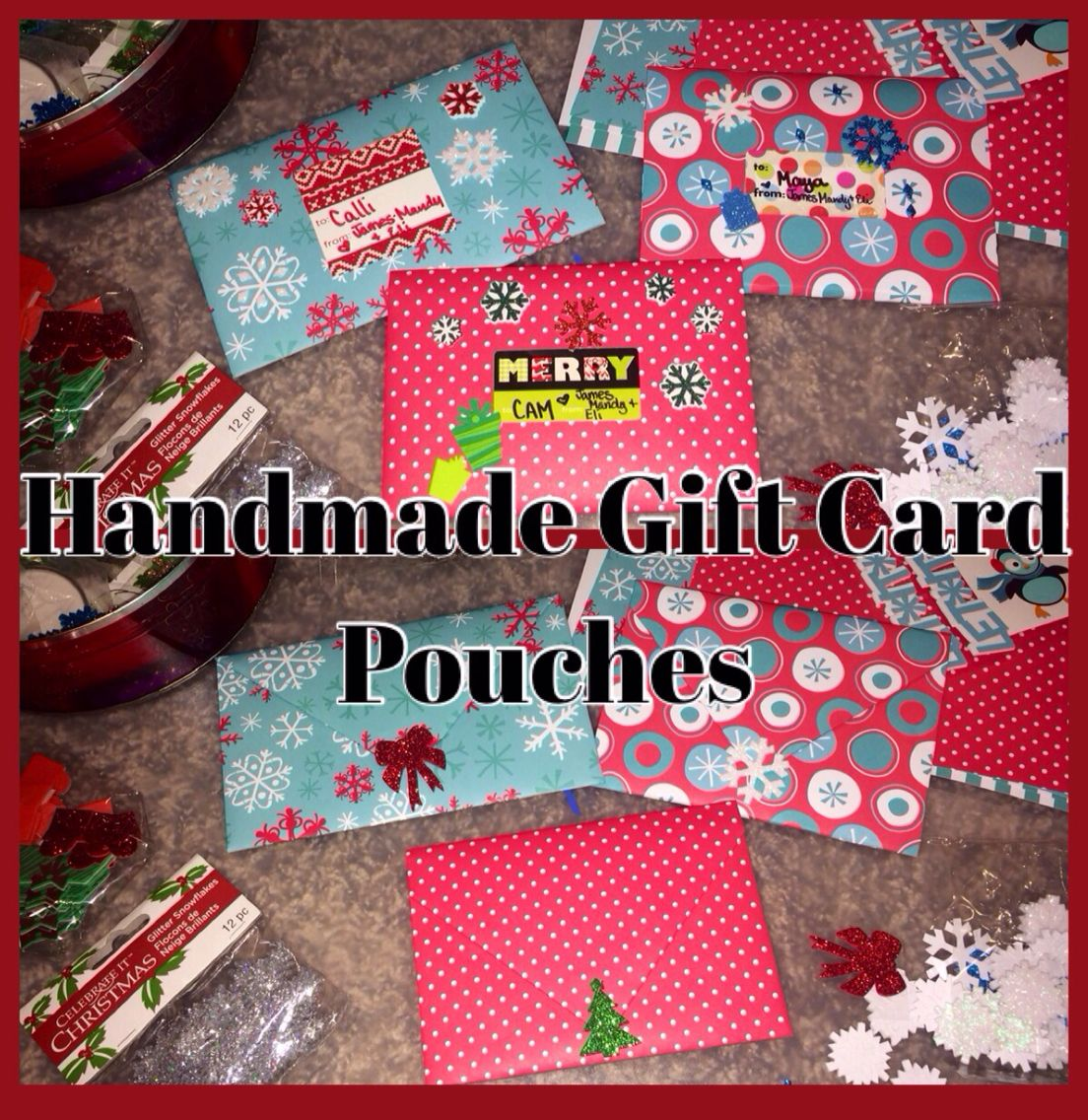 $3 pack of DIY wrapping paper squares that included stickers (could make 8 of these pouches) and in less than 60 seconds I had personalized gift card pouches!