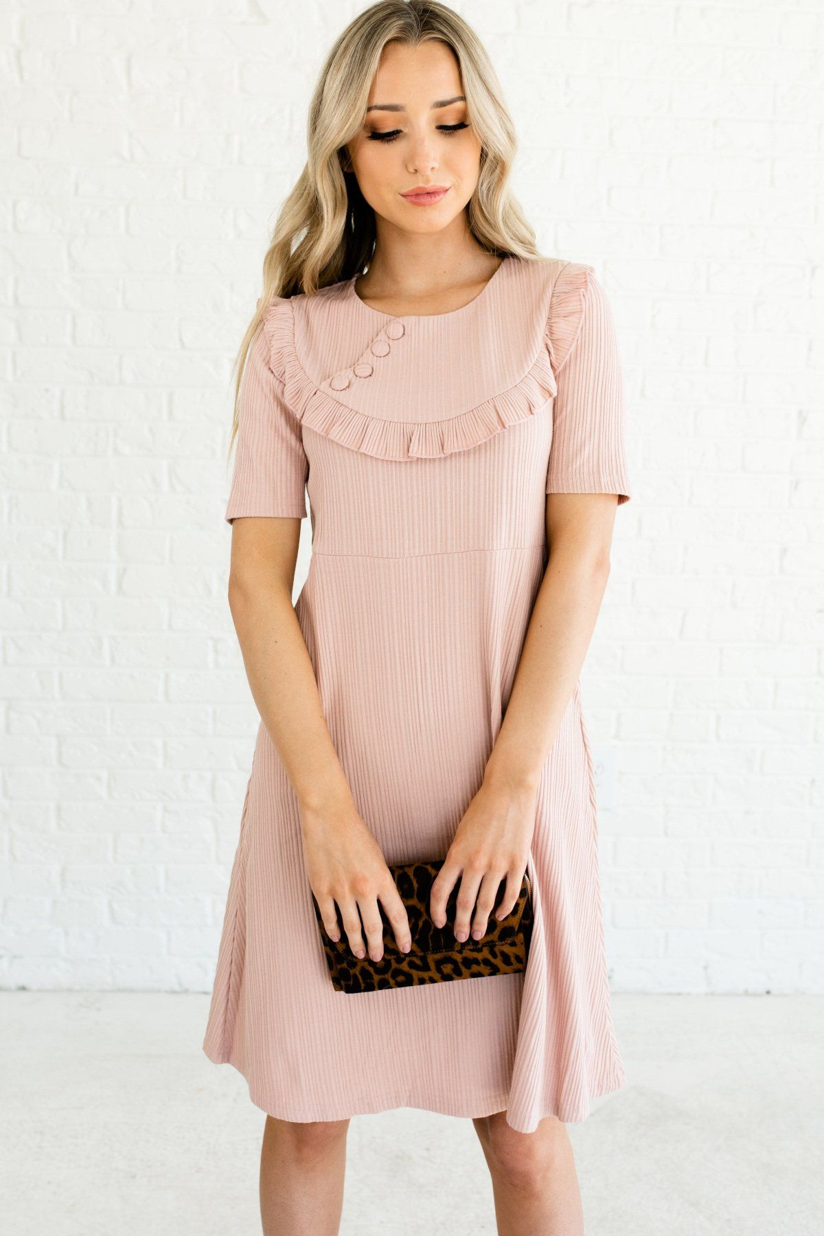 Be My Baby Blush Pink Knee Length Dress Pink Dress Casual Dresses Knee Length Dress