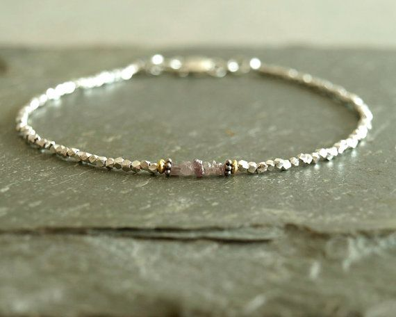 Pink Diamond Bracelet with genuine rough raw diamonds, April birthstone, gift for her, woman's small beaded bracelet, Hill Tribe sterling