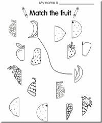 A fruit match-up worksheet | azlan | Preschool worksheets ...