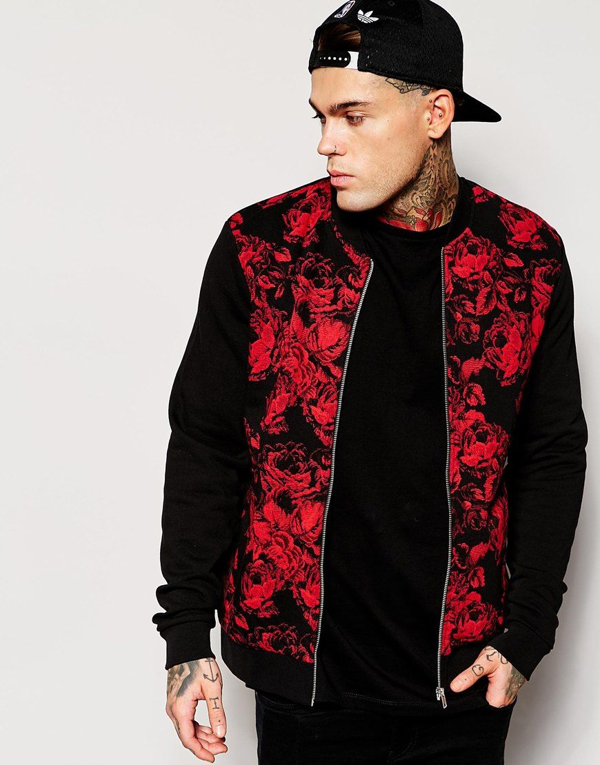ASOS Bomber Jacket In Jersey With Floral Printed Front | Fashion ...
