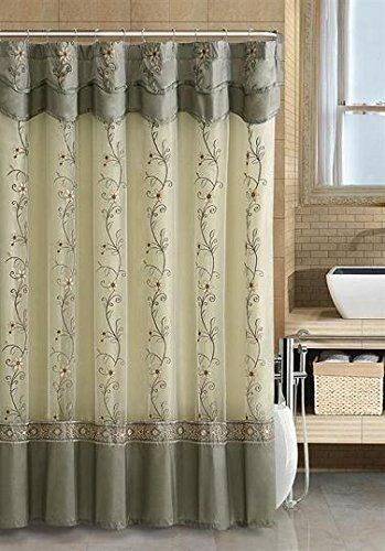 Shower Curtain Bathroom Two Layer Embroidered Fabric Attached Valance Sage Bath