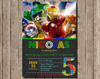 Lego Marvel Avengers Invitation For Birthday Party Super Hero Printable Invitations Personalized Digital 035