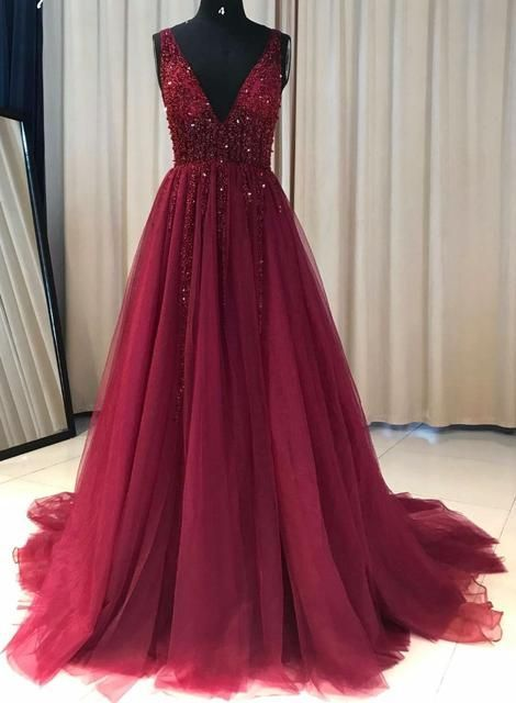 Deep V-neck Sexy A-line Long Prom Dress With Beading Custom-made School Dance Dress Fashion Graduation Party Dress YDP0447 – Kreatives Make-Up – Dress