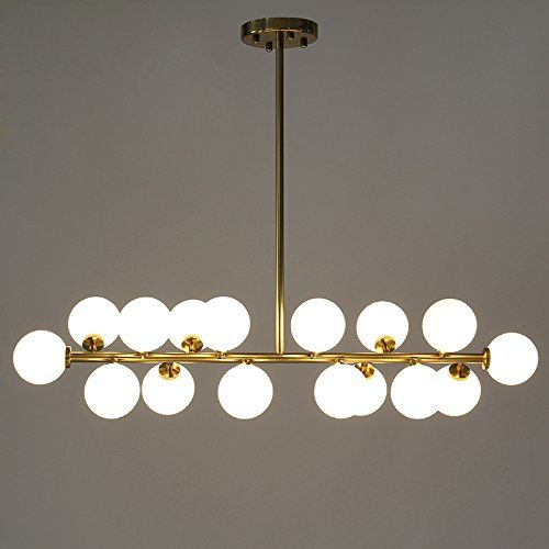 LightInTheBox Dining Room Chandelier Simple Glass Ball Creative DNA Molecular Clothing Store Lighting Beanstalk Chandeliers Lighting Lamp Fixture 110-120V (Golden Color, Yellow Light Source)