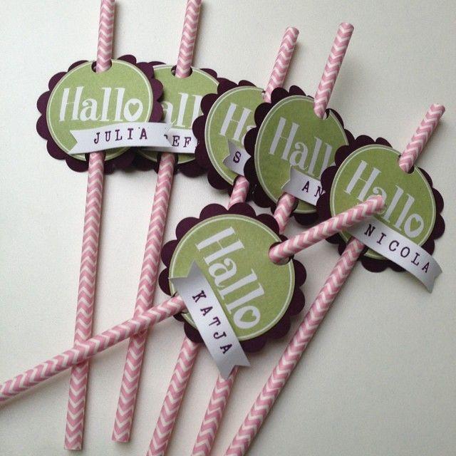 kreativersum stampin up paper straws strohhalm begr ung namensschild getr nk stempelset. Black Bedroom Furniture Sets. Home Design Ideas