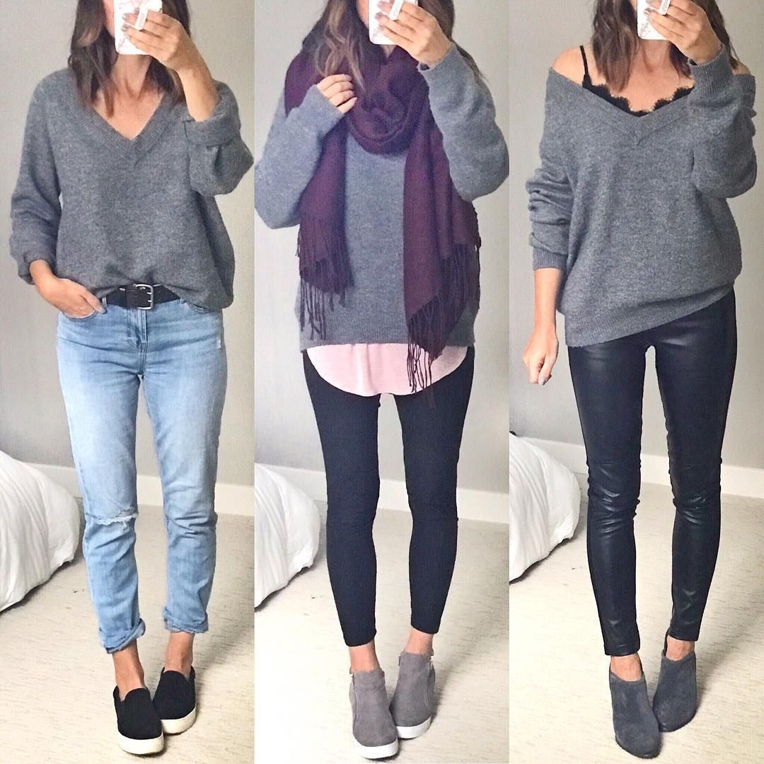 """facda060ba Christin Bryant on Instagram  """"An oversized and cozy grey v-neck sweater is  one of my most versatile fall staples and this one is back in stock and ..."""
