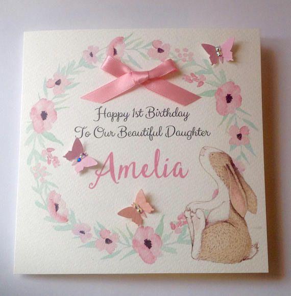 Cute Personalised Girls 1st Birthday Card Daughter Etsy 1st Birthday Cards Birthday Cards Personalized Bunny