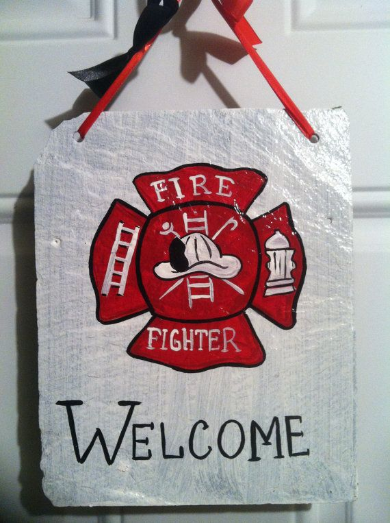 Home Decor Door Sign Welcome Signs Firefighter Welcome