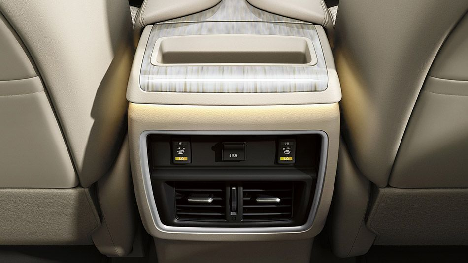 Center console with adjustable ambient interior lighting ...