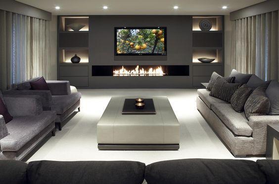 Soggiorni moderni • 100 idee e stile per il soggiorno ideale elegante living moderno con grande camino